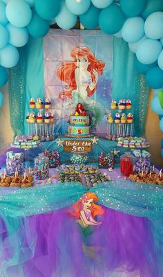 Little mermaid party. Under the sea candy table. Caramel apples. Rolo, kisses, rice Krispy, chocolate strawberries, cupcakes, cake pops, double Oreos dipped in chocolate.  Aqua purple blue.