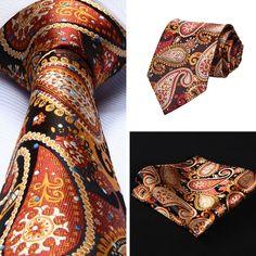 """Necktie - Orange Blue Paisley 3.4"""" Silk Necktie and Handkerchief Set @runit365…"""