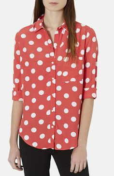 Topshop Polka Dot Shirt available at #Nordstrom These polka dots are too regimented for me.