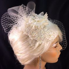 Birdcage Veil Bridal Hat Ivory Feather Fascinator by IceGreenEyes