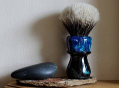 Shaving Brush - Black Peacock and Peacock Resin Handle Hand-Made with Two Band Finest Badger Knot by LoveYourShave on Etsy