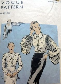 RARE VTG 1930s BLOUSE VOGUE Sewing Pattern 16/34