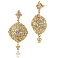 "THE STANDARDS ""Signature"" Pave Disc Drop Earrings - FREIDA ROTHMAN"