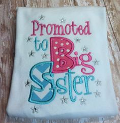 Promoted to big sister shirt with bling by UptownSprouts on Etsy, $18.00