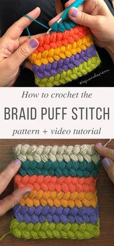 The Braided Puff Stitch Crochet Pattern Braid Puff Stitch Free Crochet Pattern Video Tutorial in spanish.Braid Puff Stitch Free Crochet Pattern Video Tutorial in spanish. Puff Stitch Crochet, Crochet Stitches Free, Crochet Motifs, Tunisian Crochet, Crochet Crafts, Easy Crochet, Crochet Baby, Crochet Projects, Free Crochet