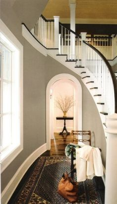 light gray walls in the stairway
