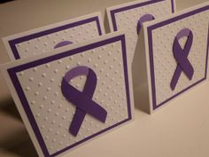 Set of 4 Purple Ribbon Mini Cards by debkcreations on Etsy, $3.25