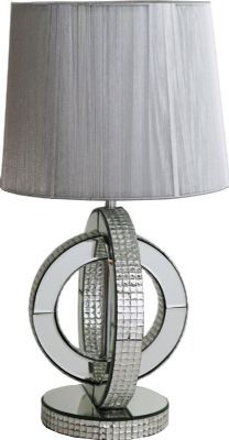 Art Deco Contemporary Mirrored Table Lamp With Grey Ribbed Shade