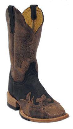 Mens Cinch Matte Slate Wingtip Square Toe Cowboy Boots