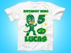 Gekko PJ Masks Birthday Shirt, PJ Masks Tshirt, Custom Birthday shirt, Party Outfit Shirt by FunPartyDay on Etsy