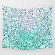 Turquoise Ice Flower Mandala Wall Hanging Tapestry by Mandala Magic By David Zydd - Small: x Cosy Bedroom, Scandinavian Bedroom, Bedroom Decor, White Bedroom, Design Bedroom, Bedroom Wall, Wall Design, Hanging Tapestry, Wall Tapestry