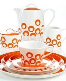 Circle Chic Orange Dinnerware by Mikasa Circle Chic Orange teapot, creamer, and sugar bowl Dinnerware Sets, Orange House, Orange You Glad, Vintage Kitchenware, Coral, Tea Service, Chocolate Pots, Happy Colors, Kitchen