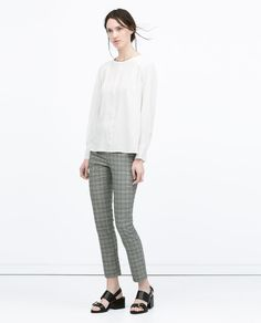 Image 1 of CHECKED SKINNY TROUSERS from Zara