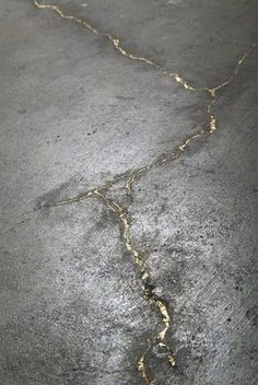 gold leaf in concrete Catherine Bertola | River of gold. This would be so cool to do on a floor!