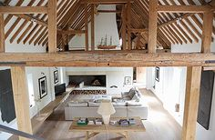 The main transformation involved turning the closed-off lounge into a double-height living area, which creates a feeling of spacePark Corner Barn, which stands in Oxfordshire farmland seven miles from Henley-on-Thames, was a working threshing barn until 1986 and was first converted into a house in 1996.