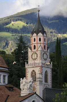 Clock tower~ Meran Church in South Tyrol (Pfarrkirche Skt. Nikolaus)