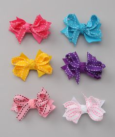 Take a look at this Saddle Stitch Mini Bow Clip Set on zulily today!