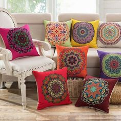 Cushions 14 Style Vintage Cotton Linen Square Throw Pillow Case Home Decor Cushion Cover & Garden Cushions For Sale, Decorative Cushions, Diy Pillows, Linen Pillows, Decorative Pillow Covers, Crochet Pillow Cases, Throw Pillow Cases, Cover Pillow, Decor Pillows