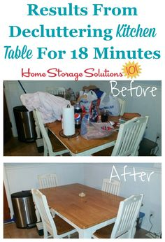 Decluttering doesn't have to take all day, but instead you can declutter just a few minutes at a time, like Jennifer did for her kitchen table {featured on Home Storage Solutions 101}