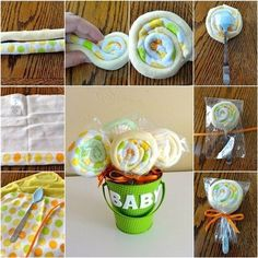 Wash Cloth Lollipops perfect for Baby Shower