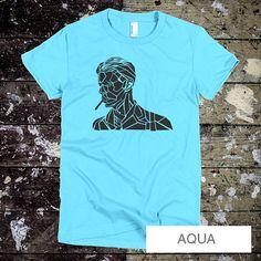 David Bowie T-shirt - David Bowie Women's tee - Starman - Space Oddity, Rock and Rock Legend S-XXL - Light Blue T-shirt - Aqua Bowie Tee