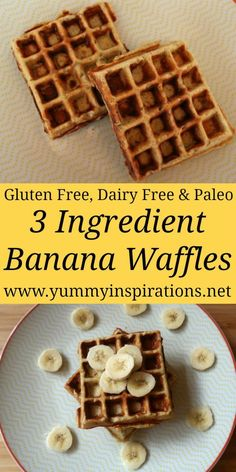 Gluten Free Banana Waffles Recipe With 3 Ingredients - Easy & Healthy Coconut Flour Waffles - Dairy Free & Paleo Friendly Recipes. # Easy Recipes cheap Gluten Free Banana Waffles Recipe With 3 Healthy Ingredients Waffle Mix Recipes, Easy Waffle Recipe, Gluten Free Waffle Mix Recipe, Gluten Free Menu, Dairy Free Waffles, Gluten Free Banana Bread, Paleo Recipes Easy, Real Food Recipes, Healthy Waffle Recipes