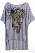 To find out about the Grey Short Sleeve Leopard Print Dipped Hem T-Shirt at SHEIN, part of our latest T-Shirts ready to shop online today! Latest T Shirt, Grey Shorts, Chic, Sleeve, Mens Tops, Shirts, Shopping, Summer, Women