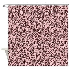 Art Deco Damask pink Shower Curtain on CafePress.com