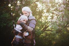 Emotional photo of Geralt and Ciri from The Wither 3 Wild Hunt. Ciri - Juriet Cosplay Geralt - Kuromaru Cosplay Photographer - Filip Blažek