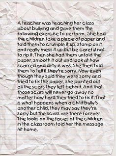 The Crumpled Paper Lesson and Bullying from Happy Children and Families.  Example to teach kids lasting impact of unkind words & actions.