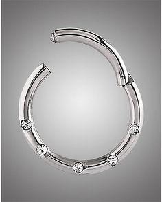 SILVER CZ SEPTUM RING14 Gauge Silver  CZ Septum Ring 3 pack - Spencer's