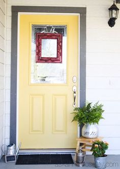 Another nice pale yellow for the front door: Sunflower Yellow (alternatively Lamplighter Yellow) by Old Village Paint, from their Colours de Provence collection