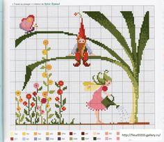 gnome and fairy cross stitch free pattern