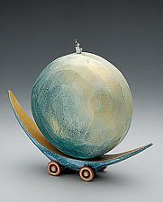 "Full Moon Boat by Dona Dalton (Wood Sculpture) (8"" x 7"")"