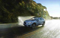 Download wallpapers Subaru Crosstrek, 2018, SUV, exterior, blue Crosstrek, new cars, Japanese cars, Subaru
