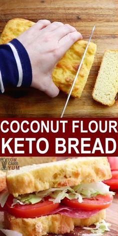 This low carb, gluten-free, Keto and Paleo Coconut Flour Bread may just be your new favorite bread while in a low carb and keto diet. I Coconut Flour Bread (Keto, Low Carb, Paleo) Joanie Nelson delicio Ketogenic Diet Meal Plan, Ketogenic Diet For Beginners, Keto Diet For Beginners, Keto Meal Plan, Diet Meal Plans, Ketogenic Recipes, Low Carb Recipes, Diet Recipes, Egg Recipes