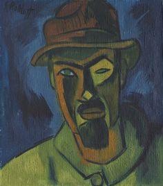 Karl Schmidt-Rottluff, Self Portrait with Hat 1919