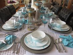 The Welcomed Guest: Coastal Life Tablescape Driftwood Centerpiece, Table Manners, Glass Candle Holders, Tablescapes, A Table, Dinnerware, Coastal, Table Settings, Table Decorations