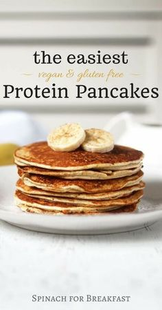 The Easiest Protein Pancakes -- healthy, vegan, gluten free and grain free, and only calls for 4 ingredients! Our banana and protein powder based recipe is not only the easiest but also tastes the best! A super easy and delicious way to start off your morning :)