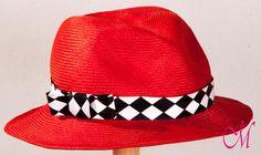 Sombrero California. Sombrero fedora de sisal rojo valentino con cinta de algodon. www.monetatelier.com