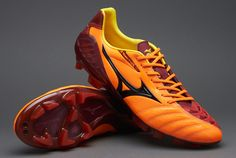 Mizuno Football Boots - Mizuno Wave Ignitus 3 MD - Soccer Cleats - Neon Orange-Black