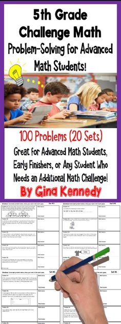 Twenty weeks of 5th grade math challenge math problems! Twenty sets of challenging no-prep 5th Grade enrichment math problems that will challenge your most advanced math learners. The problems are great for early finishers, gifted students, or for whole group math problem solving challenges. Print and go math enrichment!$