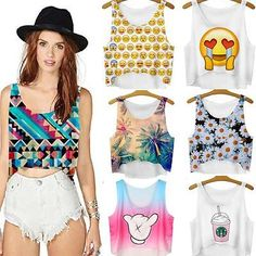 Summer Casual Women Emoji Tank Top Vest Blouse Sleeveless Cartoon Crop T-Shirt