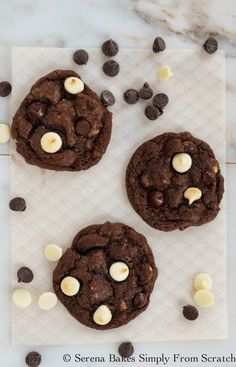 Double Chocolate Chip Cookies by Serena Bakes Simply From Scratch. Double Chocolate Chip Cookies. Chewy chocolate cookies filled with white chocolate and semi sweet chocolate chips. Recipe includes step by step photos and instructions.