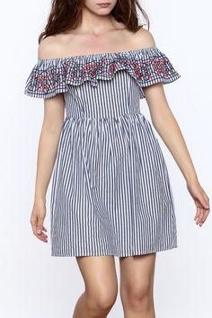 Flying Tomato Off The Shoulder Stripe Dress - Main Image