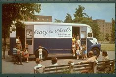Brooklyn (N.Y.) Public Library Bookmobile at the Glenwood Houses, circa 1960. Brooklyn Historical Society postcard collection.