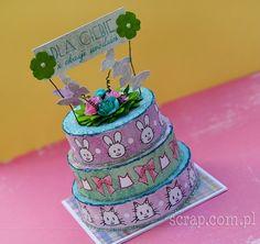 Pomysłowy urodzinowy torcik z papieru :-) Polish Words, Stamps, Scrapbooking, Cake, Desserts, Food, Seals, Tailgate Desserts, Deserts