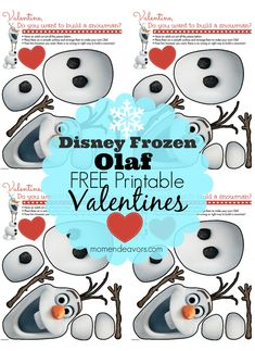 Adorable Disney's FROZEN Olaf FREE Printable Valentine's via momendeavors.com! #Disney #DisneyFrozen