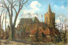 De Oude Kerk in Ede.  De kerk is door Arnold Koning vaak geschilderd. De afmeting van dit schilderij is 37x54cm. Het is vanuit een hele slechte staat in 2015 gerestaureerd tot een karakteristieke en herkenbare Koning.
