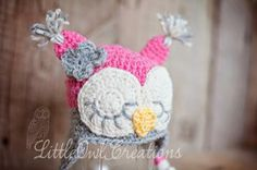 Wool Sleepy Owl Beanie Newborn up to 12m MADE TO ORDER by littleowlcreations for $26.00